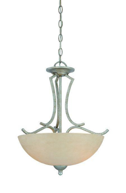 Chandeliers/Pendant Lights By Thomas Two-light pendant in Moonlight Silver finish with tea stained glass. SL893572