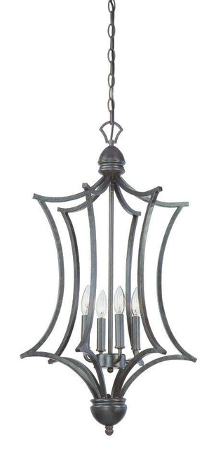 Chandeliers By Thomas Four-light cage foyer pendant in Sable Bronze finish. SL893622