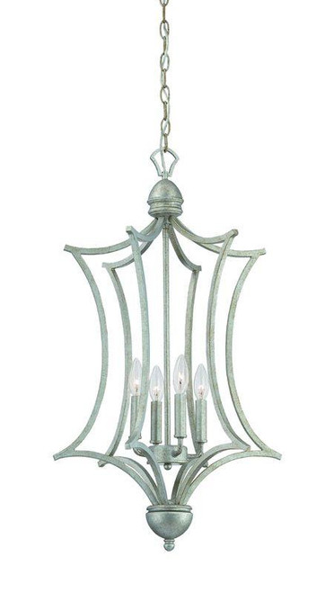 Chandeliers By Thomas Four-light cage foyer pendant in Moonlight Silver finish. SL893672
