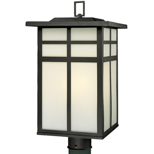 Outdoor Lights By Thomas Three-light outdoor post lantern in Matte Black finish with cream colored glass. SL90067