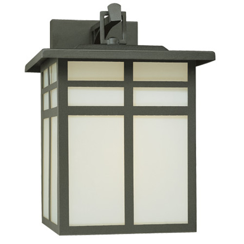 Outdoor Lights By Thomas MISSION 12.5in One-light outdoor wall fixture in Matte Black finish with cream colored glass SL90077