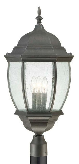 Outdoor Lights By Thomas One-light die-cast aluminum outdoor post lantern in Painted Bronze finish with clear beveled glass SL901063