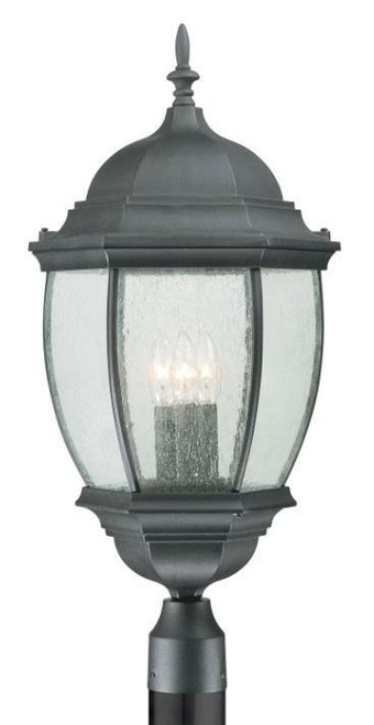Outdoor Lights By Thomas One-light die-cast aluminum outdoor post lantern in Matte Black finish with clear beveled glass SL90107