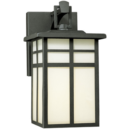 Outdoor Lights By Thomas MISSION 10.5in One-light outdoor wall fixture in Matte Black finish with cream colored glass SL91047