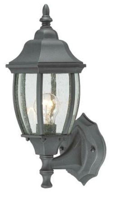Outdoor Lights By Thomas COVINGTON 14.25in One-light die-cast aluminum outdoor wall lantern in Matte Black finish with seedy glass SL92237