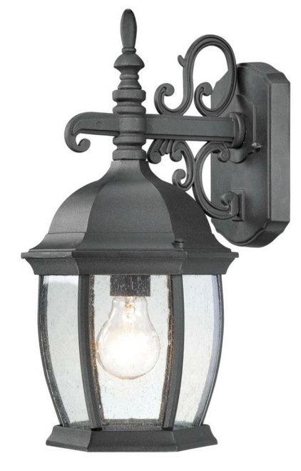 Outdoor Lights By Thomas COVINGTON 16in One-light die-cast aluminum outdoor wall lantern in Matte Black finish with seedy glass SL92287