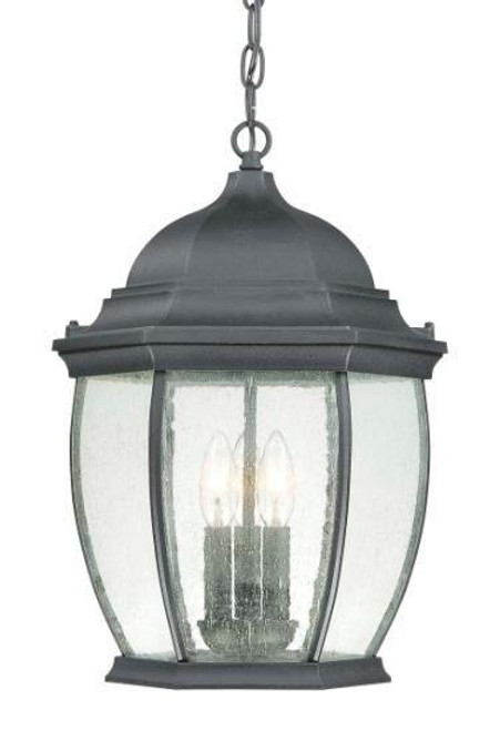Outdoor Lights By Thomas One-light die-cast aluminum outdoor pendant lantern in Matte Black finish with clear seedy glass SL92337