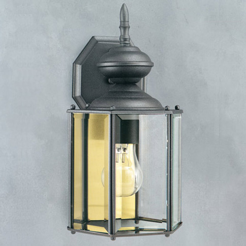 Outdoor Lights By Thomas One-light, Matte Black finish outdoor wall fixture with clear beveled glass panels. SL92427