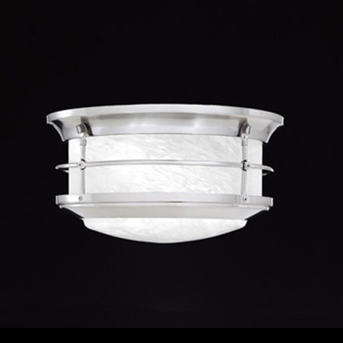 Outdoor Lights By Thomas Two-light outdoor ceiling fixture in Brushed Nickel finish with etched alabaster style glass SL928378