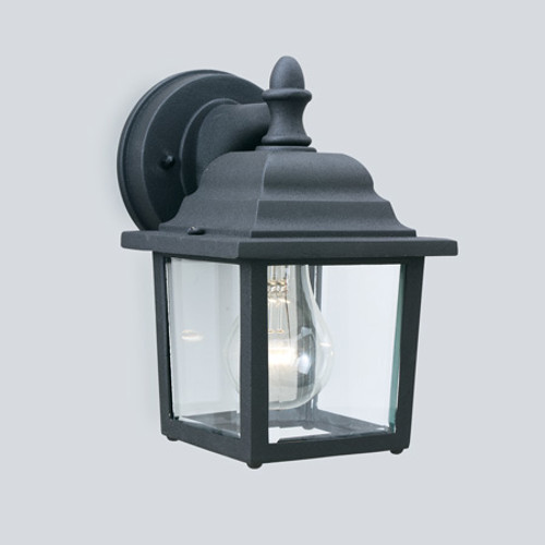 Outdoor Lights By Thomas HAWTHORNE 8.5in One-light die-cast aluminum outdoor wall lantern in Matte Black finish with clear glass SL94227