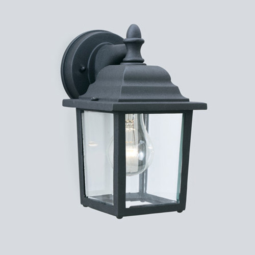 Outdoor Lights By Thomas HAWTHORNE 10in One-light die-cast aluminum outdoor wall lantern in Matte Black finish with clear glass SL94237