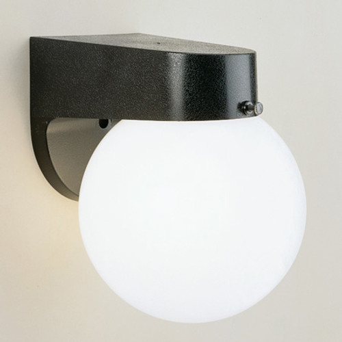 Outdoor Lights By Thomas One-light durable Black plastic outdoor wall fixture with white acrylic globe. SL94357