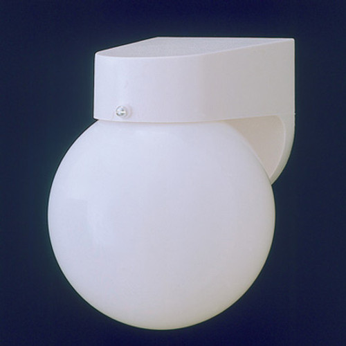Outdoor Lights By Thomas One-light durable White plastic outdoor wall fixture with white acrylic globe. SL94358