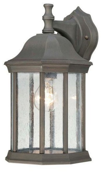 Outdoor Lights By Thomas HAWTHORNE 14in One-light die-cast aluminum outdoor wall lantern in Painted Bronze finish with seedy glass SL945263