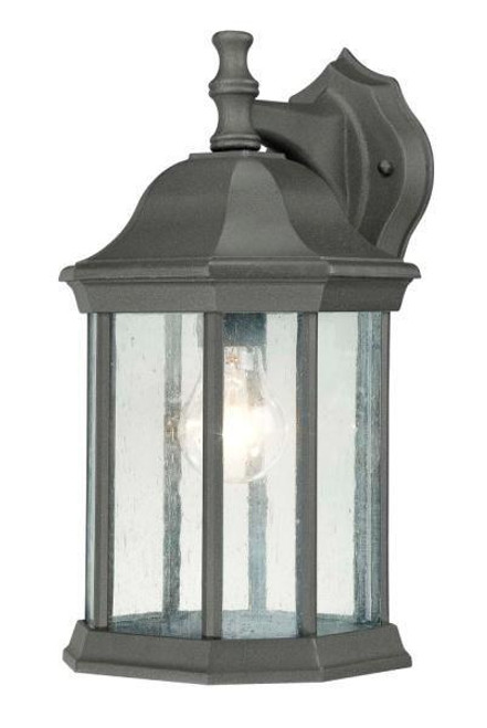 Outdoor Lights By Thomas HAWTHORNE 14in One-light die-cast aluminum outdoor wall lantern in Matte Black finish with seedy glass SL94527