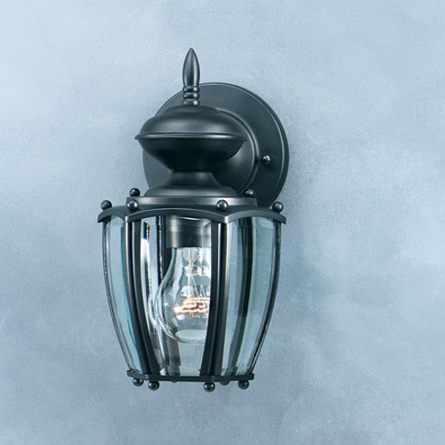 Outdoor Lights By Thomas One-light, Matte Black outdoor wall lantern with clear beveled glass panels. SL94707