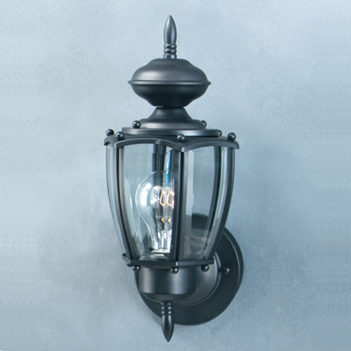 Outdoor Lights By Thomas One-light outdoor wall lantern in Black finish with clear beveled glass panels. SL94717