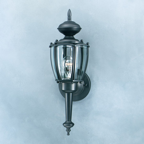 Outdoor Lights By Thomas PARK AVENUE 17.5in One-light Black finish outdoor wall lantern with clear beveled glass panels. SL94727