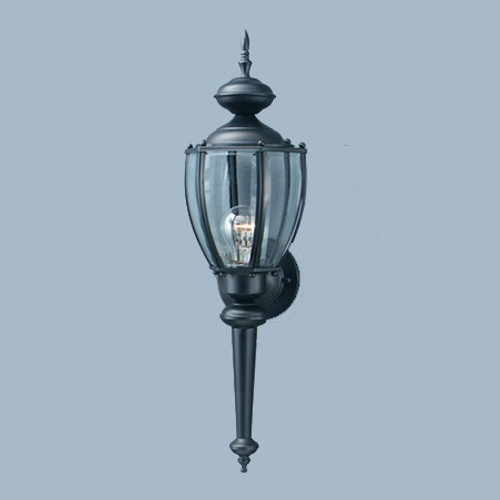 Outdoor Lights By Thomas One-light, Solid Brass outdoor wall lantern in Matte Black finish with clear beveled glass SL94767
