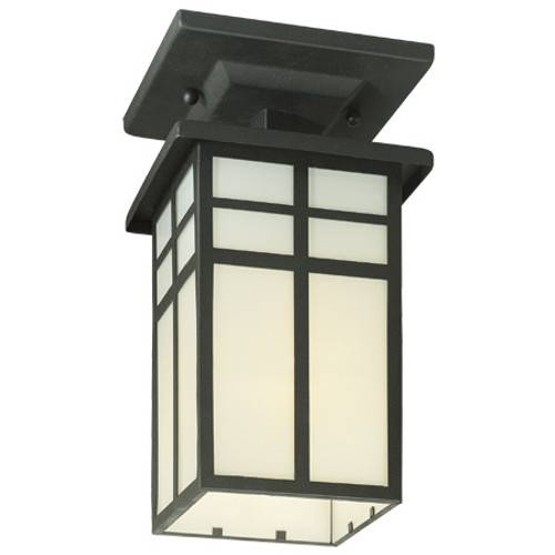 Outdoor Lights By Thomas One-light outdoor semi-flushmount in Matte Black finish with cream colored glass. SL96657
