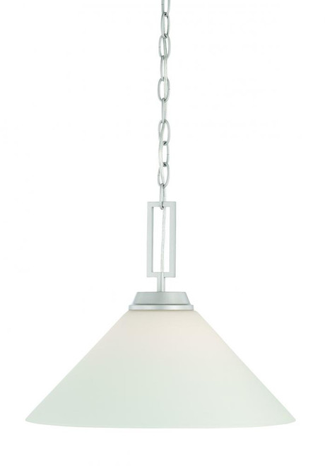 Chandeliers/Pendant Lights By Thomas Wright 0in One-light pendant in Matte Nickel finish with Etched White glass shade TC0007117