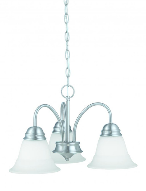 Chandeliers By Thomas Bella 11.75in Three-light chandelier in Brushed Nickel finish with etched glass TK0003217