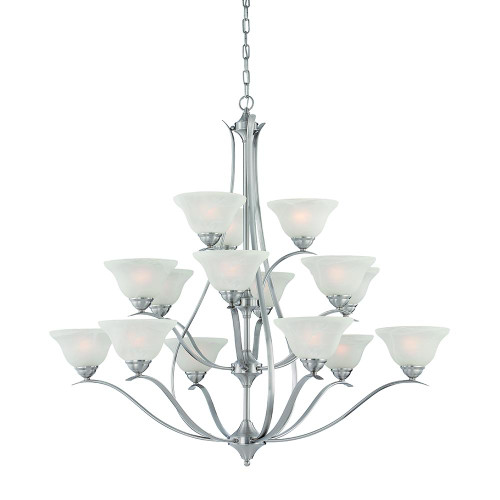 Chandeliers By Thomas Fifteen-light chandelier in Brushed Nickel finish with alabaster-style glass. TK0023217