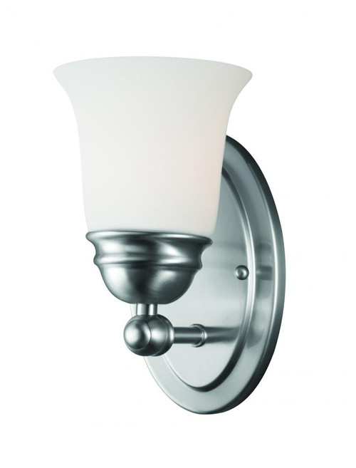 Wall Lights By Thomas Bella 9in One-light wall sconce in Brushed Nickel finish with etched glass TN0003217