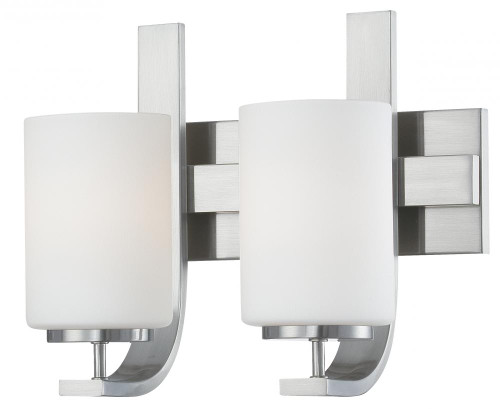 Wall Lights By Thomas Pendenza 11.5in Two-light bath fixture in Brushed Nickel finish with etched glass TV0007217