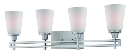 Wall Lights By Thomas Four-light bath fixture in Matte Nickel finish with Etched glass. TV0010117