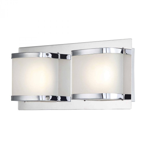 Wall Lights By Alico Bandeaux 2 Light LED Vanity In Chrome And Opal Glass BVL4002-10-15