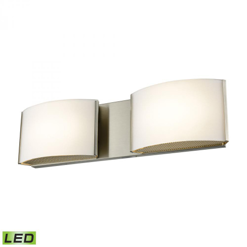 Wall Lights By Alico Pandora LED 2 Light LED Vanity In Satin Nickel And Opal Glass BVL912-10-16M