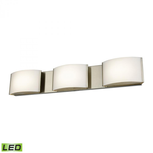 Wall Lights By Alico Pandora LED 3 Light LED Vanity In Satin Nickel And Opal Glass BVL913-10-16M