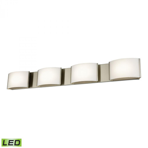 Wall Lights By Alico Pandora LED 4 Light LED Vanity In Satin Nickel And Opal Glass BVL914-10-16M