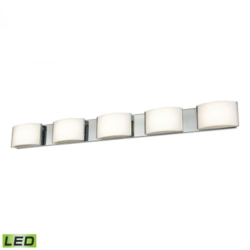 Wall Lights By Alico Pandora LED 5 Light LED Vanity In Chrome And Opal Glass BVL915-10-15