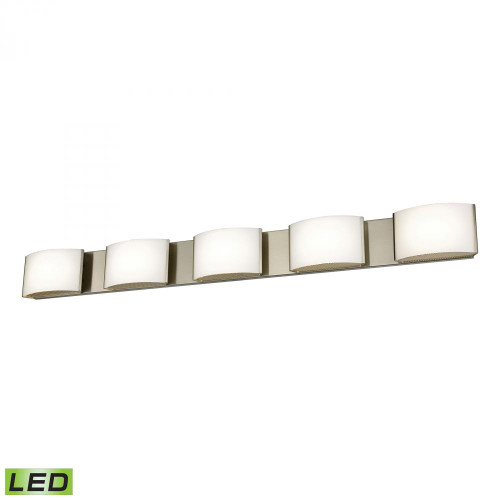 Wall Lights By Alico Pandora LED 5 Light LED Vanity In Satin Nickel And Opal Glass BVL915-10-16M