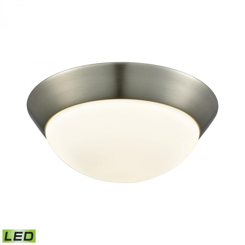 Ceiling Lights By Alico Contours 1 Light LED Flushmount In Satin Nickel And Opal Glass - Medium FML7150-10-16M