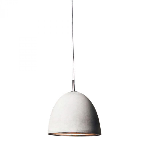 Chandeliers/Pendant Lights By Alico Castle 1 Light Pendant In Poured Concrete With Chrome Reflector - Medium PS4702-140-15