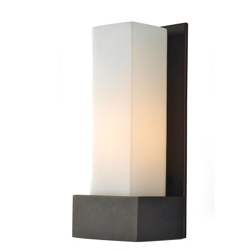 Wall Lights By Alico Solo Tall 1 Light Sconce In Oil Rubbed Bronze With White Opal Glass WS121-10-45