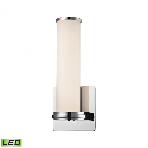 Wall Lights By Alico Baton 1 Light LED Wall Sconce In Chrome And White Opal Glass WSL1301-10-15