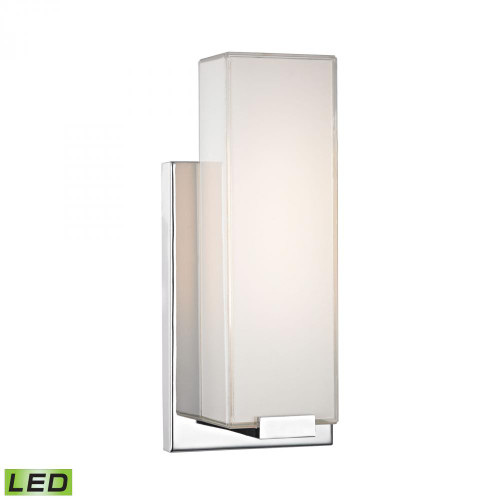 Wall Lights By Alico Midtown 1 Light Wall Sconce In Chrome And Paint White Glass WSL1601-PW-15