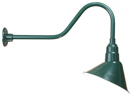 "Outdoor Lights By American Nail Plate 12"" Angle Shade and Gooseneck Arm in Marine Grade Forest Green with medium base socket A812-E6-102"