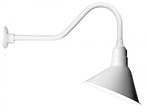 "Outdoor Lights By American Nail Plate 12"" Angle Shade and gooseneck Arm in Marine Grade White with medium base socket A812-E6-107"