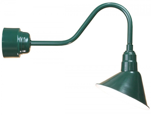 "Outdoor Lights By American Nail Plate 12"" LED Angle Shade and gooseneck arm in Marine Grade Forest Green with 16w LED module A812-M016LDNW40K-RTC-E6-102"