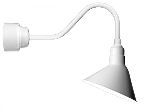 "Outdoor Lights By American Nail Plate 12"" LED Angle Shade and gooseneck arm in White with 16w LED module A812-M016LDNW40K-RTC-E6-44"