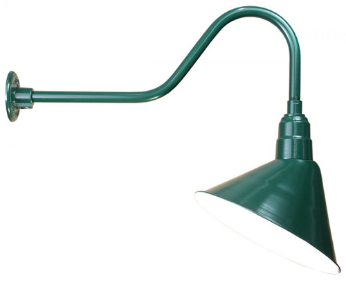 "Outdoor Lights By American Nail Plate 14"" Angle Shade and Arm in Marine Grade Forest Green with medium base socket A814-E6-102"