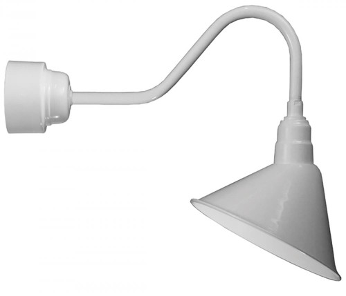 "Outdoor Lights By American Nail Plate 14"" LED Angle Shade and gooseneck arm in Marine Grade White with 16w LED module A814-M016LDNW40K-RTC-E6-107"