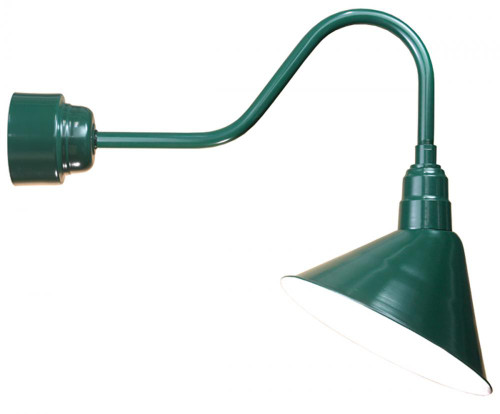 "Outdoor Lights By American Nail Plate 14"" LED Angle Shade and gooseneck arm in Forest Green with 16w LED module A814-M016LDNW40K-RTC-E6-42"