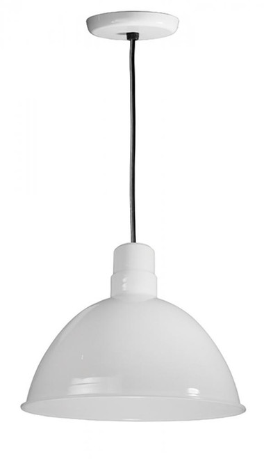"Chandeliers/Pendant Lights By American Nail Plate 16"" Deep Bowl Shade on a Black Cord with canopy using a medium base socket in White D616-BLC-44"