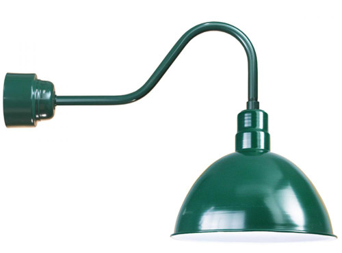 "Wall Lights By American Nail Plate 16"" Deep Bowl Shade in Forest Green, mounted on a gooseneck arm using a 16w LED module D616-M016LDNW40K-RTC-E6-42"